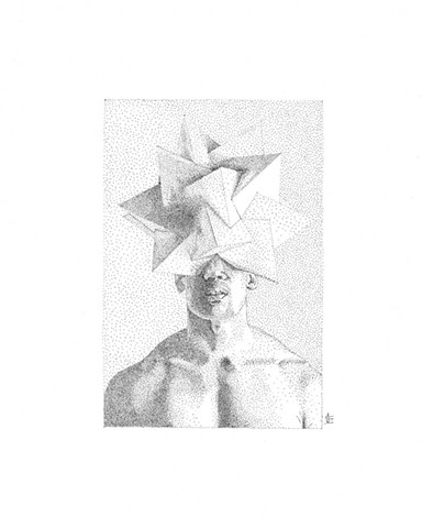 Stippling illustration of male bust torso in black and white. The model wears a polyhedral head piece, obscuring the top portion of his face and head.