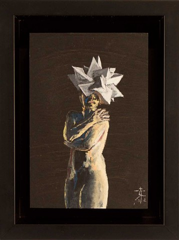 Gouache painting of nude woman wearing a polyhedral head piece. She is covering her body, which is dramatically lit.