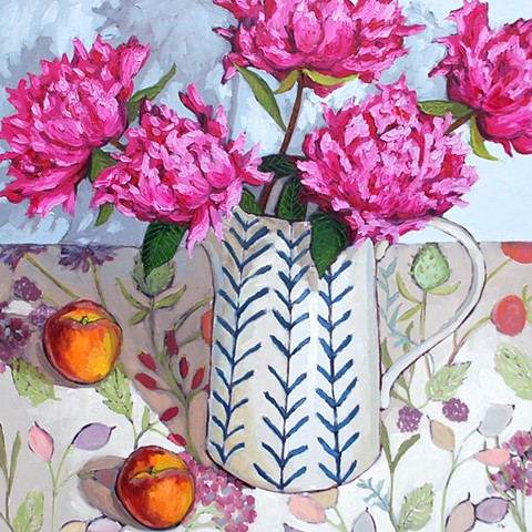 Country garden peonies with peaches