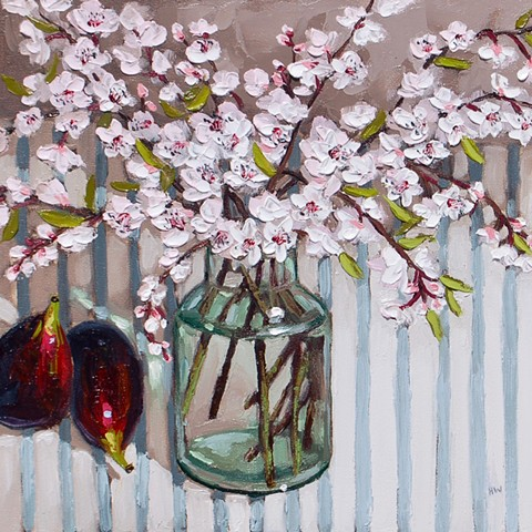 contemporary still life, primulas, garden flowers, palette knife painting, impasto still life, still life, suffolk artist, cherry blossoms