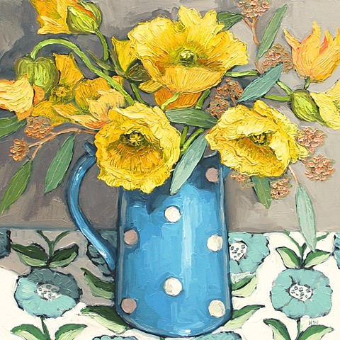 Yellow poppies with polka dots