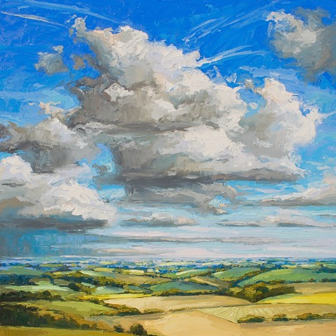 cloudscape, palette knife landscape, big sky, English landscape