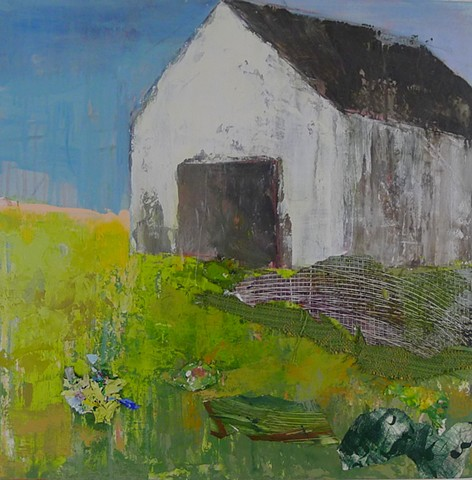 new england landscape barn mixed media collage pallette knife