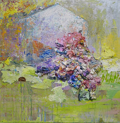 Barn contemporary landscape , yellow, pink, Flowers, spring, summer garden, textural
