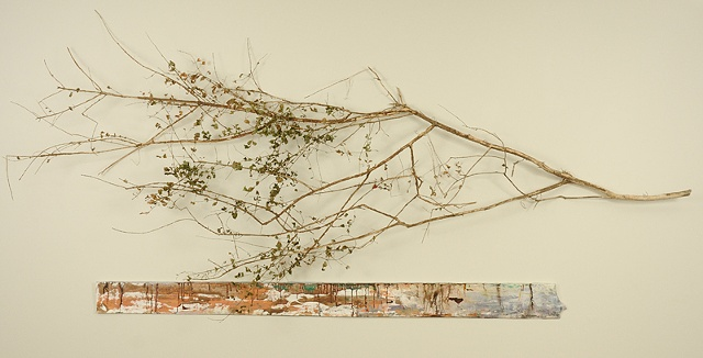 branch painting 3 D mixed media winter melt spring snow melt drips