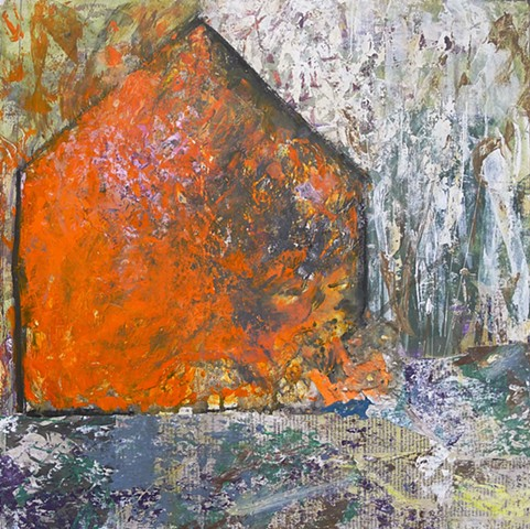 Contemporary landscape barn orange glow fire abstract art minimalism
