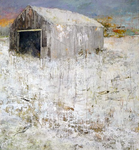 new england barn winter snow sunset landscape painting