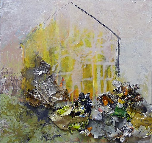 Barn contemporary landscape, spring, textural, texture, yellow, green, collage, mixed media