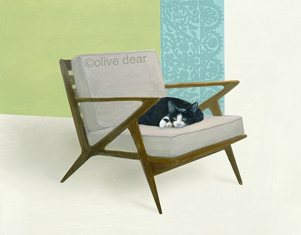 Cat on mid century chair #3