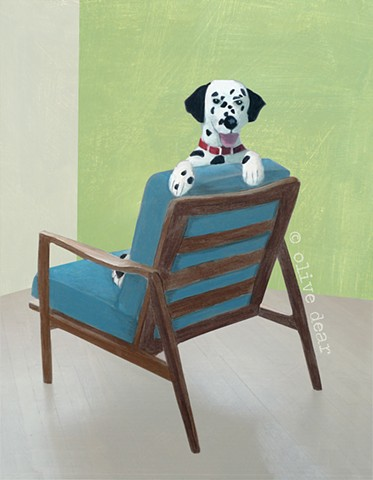 dalmation on mid century chair
