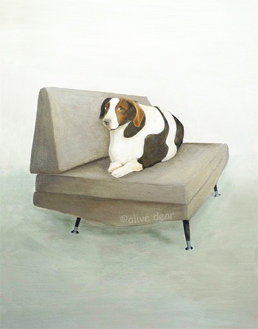 mid century chair with big dog