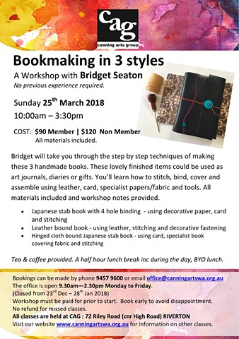Sunday Bookmaking Workshop at Canning Arts Centre, Riverton
