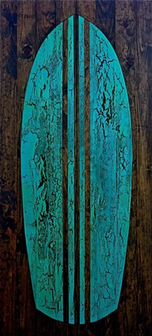 contemporary Abstract Art, surf, surfboard, wood, circles, spheres, flowers, floral, jackson pollack, sunset, Ocean, modern, blue, orange, green, copper, turquoise, yellow, orange, contemporary art, abstract, san diego, san diego artist, affordable art, b