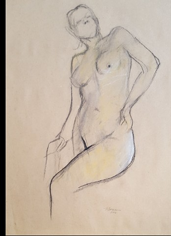 nude female figure drawing by artist Lori Markman