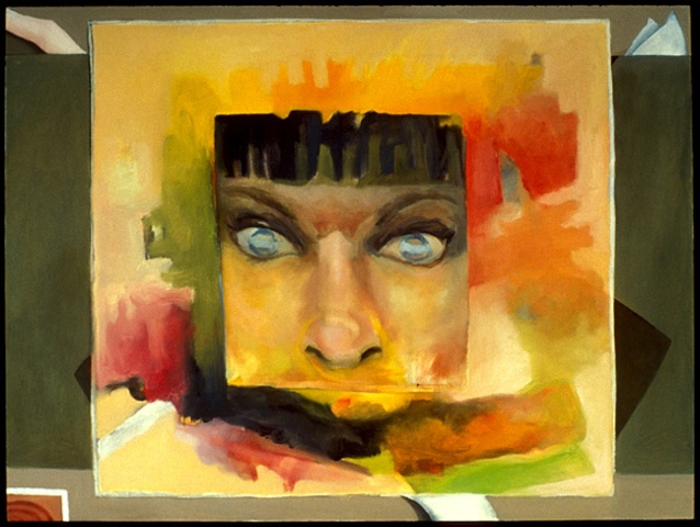 oil painting of abstract close-up woman face by artist Lori Markman