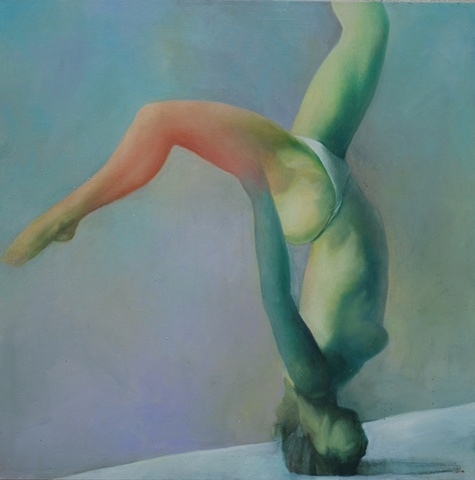 oil painting of upside down woman by artist Lori Markman