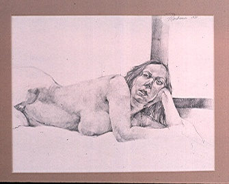 pencil drawing of female nude by artist Lori Markman