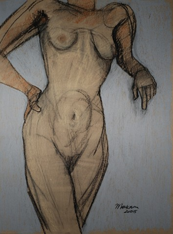pastel female nude figure drawing by artist Lori Markman