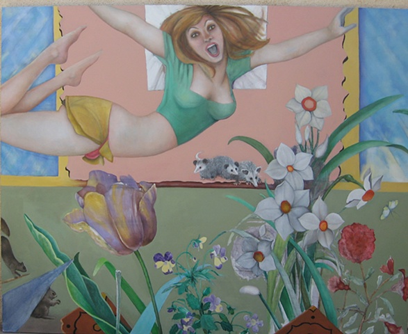 oil painting of leaping woman flowers baby opossums squirrels by artist Lori Markman