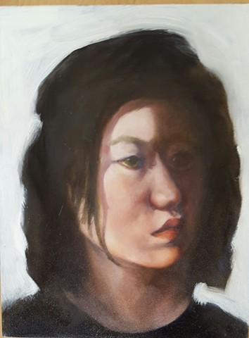 Oil painting of young woman by artist Lori Markman