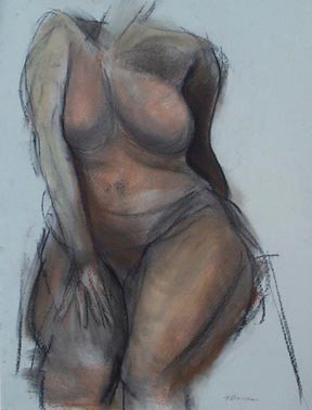 nude female figure drawing pastel by artist Lori Markman
