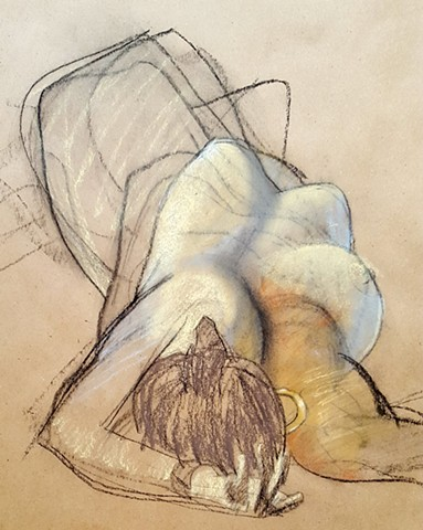 pastel nude female figure drawing by artist Lori Markman
