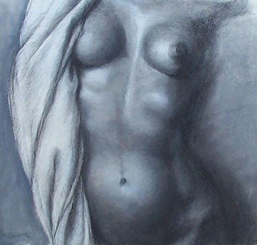 charcoal drawing of female nude by artist Lori Levine