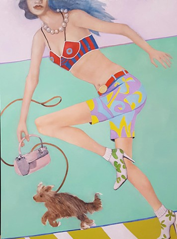 oil painting of running fashion model with dog and pink purse by artist Lori Markman