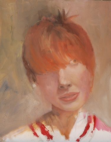 portrait of young woman with red hair by artist Lori Markman