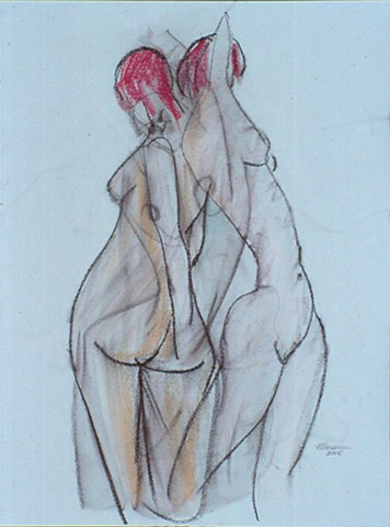 pastel gesture figure drawing of 2 female nudes by artist Lori Markman