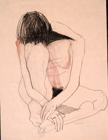 line figure drawing of seated nude women by artist Lori Markman