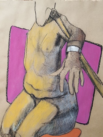 Pastel male nude figure drawing by artist Lori Markman