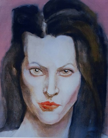 oil painting portrait of woman with black hair, pale skin, green eyes red lips