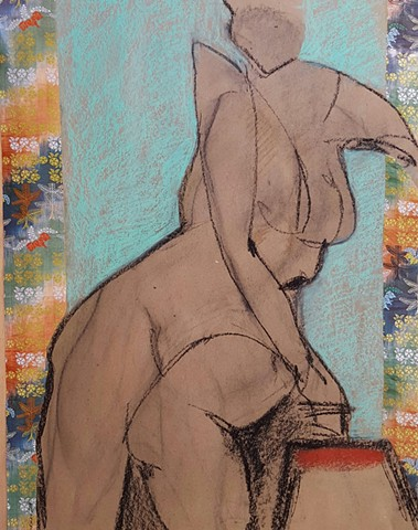pastel drawing of female nude by artist Lori Markman collage