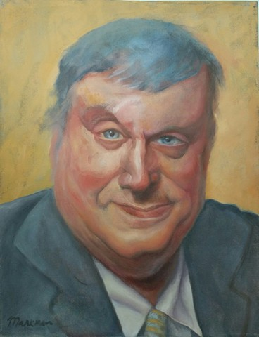 oil painting portrait of shrewd businessman in suit by artist Lori Markman