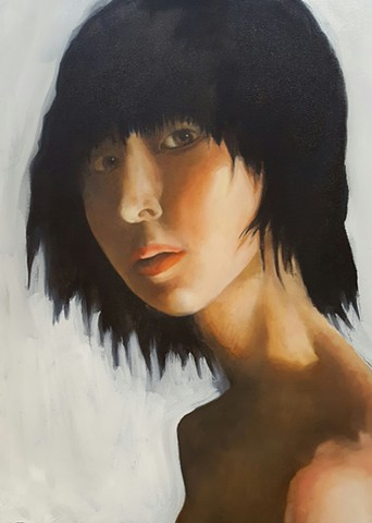oil painting of young woman with black hair by artist Lori Markman