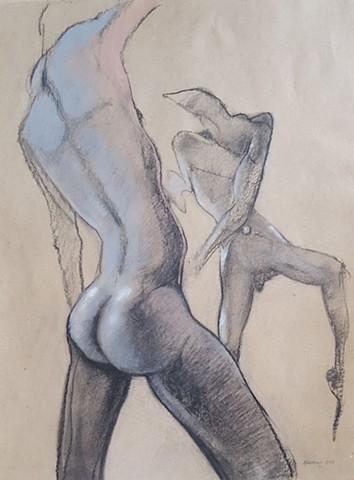 pastel nude male figure drawing by artist Lori Markman