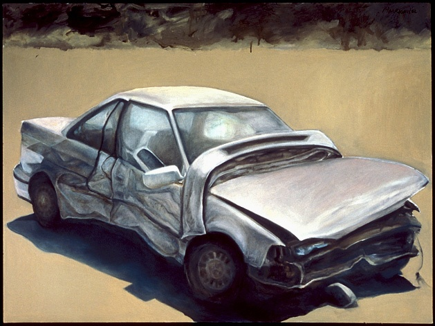 photorealism oil painting of car automobile and storm clouds by artist Lori Markman