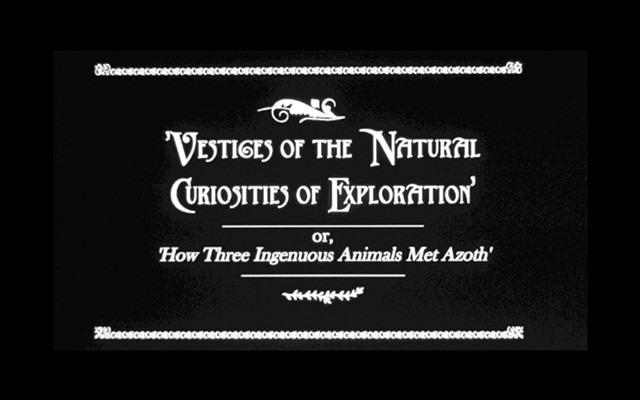 ///// 'VESTIGES of the NATURAL CURIOSITIES of EXPLORATION (or, How Three Ingenuous Animals Met Azoth)' [2011, 28:14 mins. b/w] (2 min. excerpt)