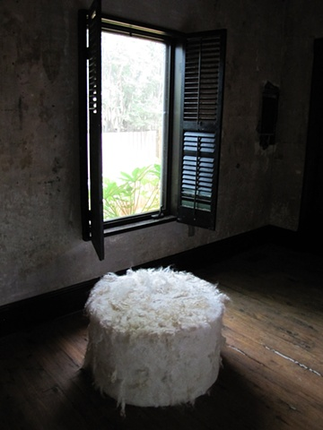 Large wool felt pouf