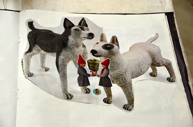 wooden dogs collage
