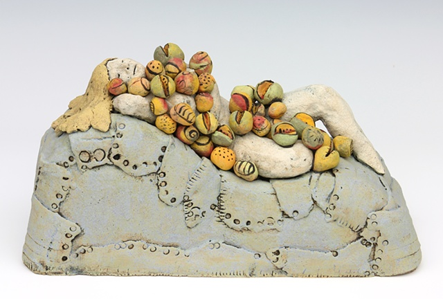clay ceramic sculpture fruit by sara swink