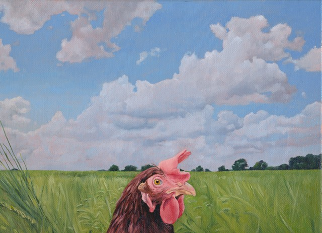 Chicken in field with clouds oil painting by artist painter Chantelle Norton
