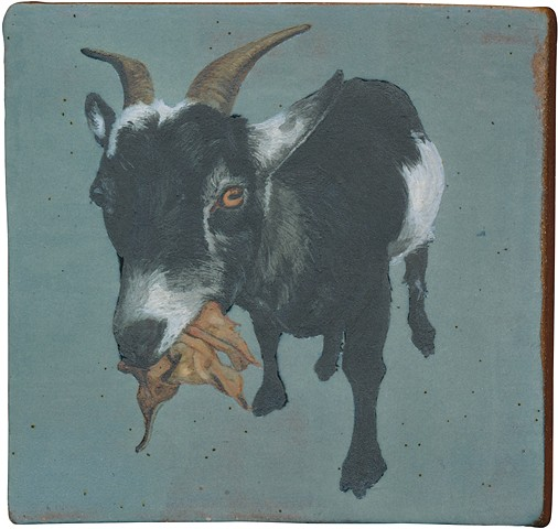 Ceramic handmade tile, hand painted with underglazes, high-fired, goat portrait of Alma by Chantelle Norton.