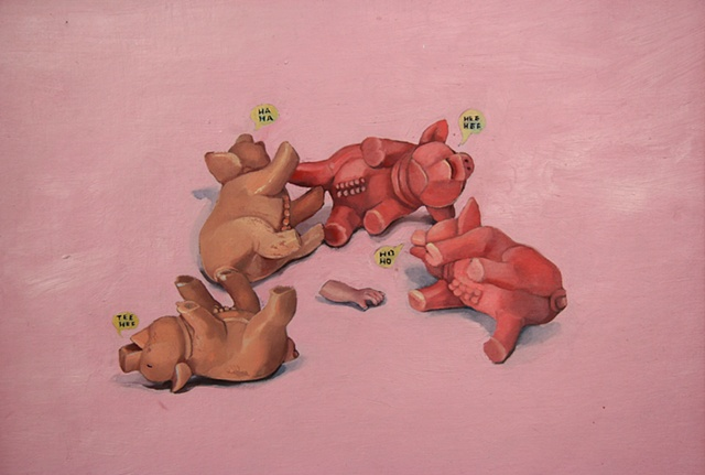 Oil painting on canvas of plastic toy pigs laughing by artist Chantelle Norton.
