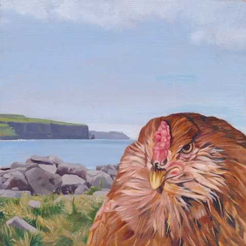 Chicken in front of Cliffs of Moher, Doolin, Ireland. Irish Landscape painting.