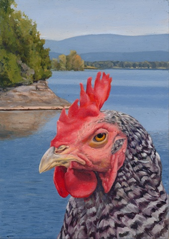 Chicken landscape painting at North Hero VT, Lake Champlain.