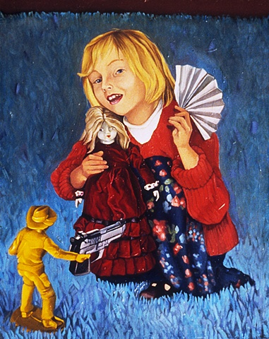 Oil painting on panel of a girl with a fan and doll being held up by a plastic toy cowboy with a gun by artist Chantelle Norton.