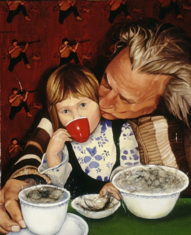 Oil painting with hair on panel of a man kissing a girl drinking out of a teacup by artist Chantelle Norton.