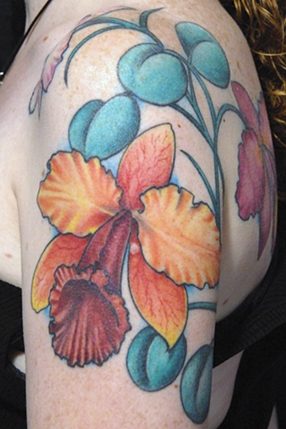 Bright tattoo, flower tattoo, colorful tattoo,avalon tattoo, pacific beach, jason salinaz, atomic jellyfish, san diego tattoo artist